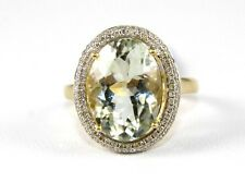Fine Oval Green Amethyst Solitaire Ring w/Diamond Halo 14k Yellow Gold 5.62Ct