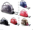 GIRL WOMEN LYDC LUGGAGE MOCK CROC WHEELED TRAVEL HOLDALL CABIN TROLLEY CASE BAG