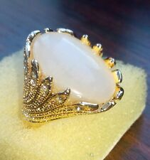 Womens gold plated ring with lab created white Opal size P