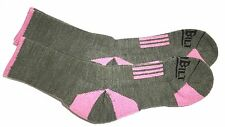 DURABILT 2-PAIR MERINO WOOL SOCKS BASIL/PINK SIZE MD (9-11) FIT 5-10 SHOE