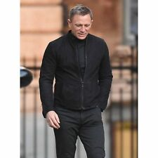James Bond Morocco Matchkess Spectre Black Suede Leather Jacket With Two Way Zip