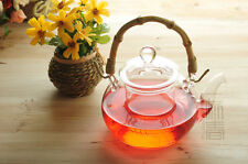600ml glass teapot with filter,Heat-resistance coffee pot,Bamboo Handle,Pyrex
