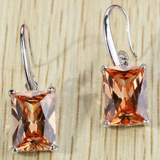 Square Citrine crystal CZ rhinestone Silver pendant Hook Zircon Party Earrings