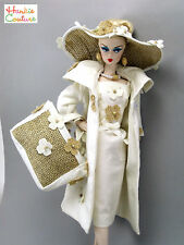 BARBIE SILKSTONE DOLL DRESS COOL BURLAP & MUSLIN OOAK HANKIE COUTURE 11 PIECES