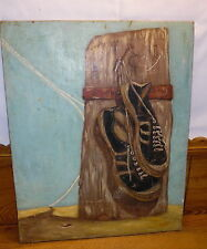 Vintage Painting On Panel - Still Life Shoes On Wood - Dirty - G. Niles 1968