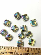 RHINESTONE SQUARES 1/2 INCH /  COUNT 12/ PAGEANT FORMAL JEWELRY ,COSTUME