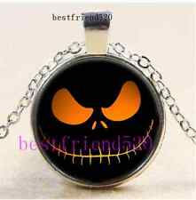 Nightmare Before Christmas Jack Smile Cabochon Glass Silver Pendant Necklace