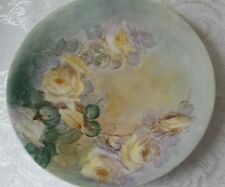 ANTIQUE HAND PAINTED YELLOW FLORAL ROSES JPL LIMOGES FRANCE PORCELAIN PLATE