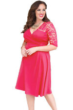 NEW Pink Floral Lace Sleeve Skater Plus Size Dress Party Work 16 18 20 22 24 UK