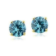 Swarovski Elements Aqua  March Birthstone Stud Earrings in Gold Tone