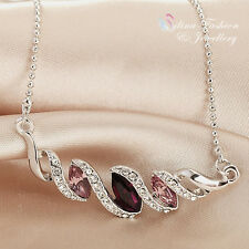 18K White Gold Plated Swarovski Element Stunning Twisted Amethyst Necklace