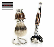 BEST SHAVING BRUSH FOR MEN BADGER HAIR SILVER TIP, CLASSIC VINTAGE STYLE SET