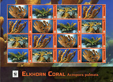 Grenada 2016 MNH Elkhorn Coral WWF 16v M/S Corals Marine Stamps