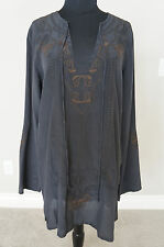 NEW Designer Johnny Was Biya Silk Embroidered Grey Dress Tunic Top GORGEOUS S