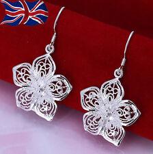 925 Sterling Silver Flower Earrings Dangle Filigree Design Gift Bag UK Party