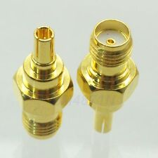 1pc Adapter CRC9 male plug to SMA female jack RF connector straight gold plating