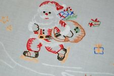 SANTA ICE SKATES ON POND! VTG GERMAN CHRISTMAS HAND EMBROIDERED TABLECLOTH