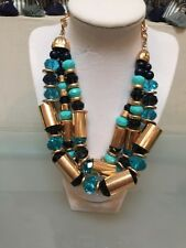 NWOT Multi Strand Turq And Navy Beaded Gold Statement Necklace Anthropologie