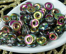 Crystal Vitrail Czech Glass Flat Ring Beads O Shaped Large Hole Donut Beads 8mm