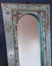 ANTIQUE/VINTAGE INDIAN, TRADITIONAL ARCHED TEMPLE MIRROR in SLATE GREY. LARGE!