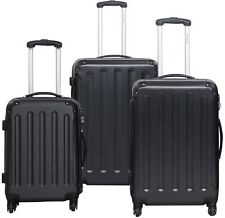 GLOBALWAY 3 Pcs Luggage Travel Set Bag ABS+PC Trolley Suitcase Black
