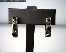 Sterling Silver Onyx Inlay & Marcasite Hoop Stud Earrings, 8.3 grams (B5928)