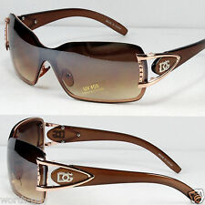 New DG Mens Womens Sunglasses Shades Fashion Designer Gold Brown Shield Retro