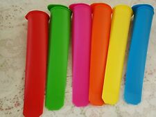 6 pk Silicone Popsicle Mold/ Pop Maker /Ice Cream Mold ATTACHED LIDS+ FREE Gift