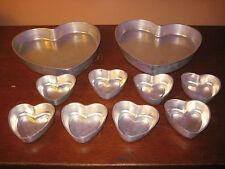 Mirro Aluminum 2 Large Heart Shaped Cake Pans and 8 mini-cake pans - vintage
