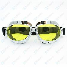 Vintage Bike Aviator Pilot Style Motorcycle Cruiser Scooter Goggles yellow lens