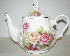 GRACE'S TEAWARE WHITE PORCELAIN MULTI ROSE TEA+COFFEE POT,TEAPOT-5 CUPS 40 OZ.