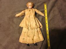 """VINTAGE 12"""" DOLL  PORCELAIN HEAD ARMS LEGS with vintage Butler Doll Stand"""