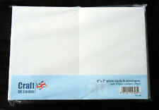 Craft UK blank greeting cards & envelopes - 5 x 7 inch white colour x 50