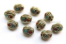 10 BEADS Tibetan Oval Beads with Circles, Brass, Turquoise & Coral Inlays
