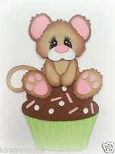 MOUSE ON CUPCAKE HAPPY BIRTHDAY  PAPER PIECING MY TEAR BEARS KIRA