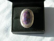 LOT 349 STUNNING LARGE PURPLE COPPER TURQUOISE SOLID STERLING SILVER RING SIZE J