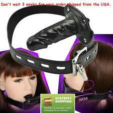 Locking Leather Soft Mouth Plug Gag Restraints Slave Fetish BDSM Bondage Sex Toy