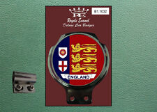 Royale Classic Car Badge & Bar Clip ENGLAND 3 LIONS BLUE RED Mod B1.1032