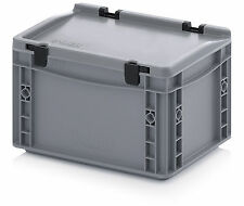 Hinged Lid Euro Container - 300x200x170mm - Stacking Plastic Crates - Heavy Duty