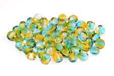 50 Böhmische Glasperlen 6mm Topaz Aqua Kürbis Tschechische Perlen Melon #3065