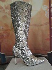 Silver Victoria Secret Colin Stuart Sequin Stiletto Tall Boots Size 10