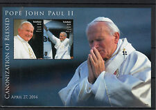 Tuvalu 2014 MNH Canonization Blessed Pope John Paul II 2v S/S I Popes