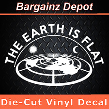 ..Vinyl Decal  THE EARTH IS FLAT ..  No STARS 3D Looking Flat Earth Map Decal