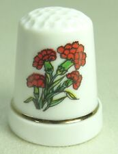 Vintage Collectible Souvenir Thimble Porcelain RED FLOWERS