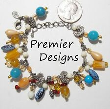 Signed PREMIER DESIGNS Dangle Cha-Cha Bracelet, Faux Turquoise/Peach/Amber Beads