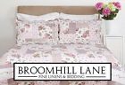 Brand New! Shabby Chic Pink Floral Cotton Country Cottage Patchwork Quilt Set