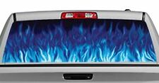 Truck Rear Window Decal Graphic [Flames / Flames Blue] 20x65in DC89403