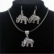 Women New Tibet Silver Elephant Choker Pendant Earring+Bib Necklace Jewelry Set