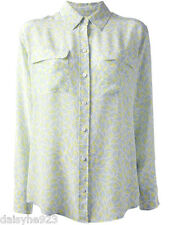 NEW $258 EQUIPMENT SIGNATURE STAR PRINTED WASHED SILK BLOUSE BLUE YELLOW WHITE S
