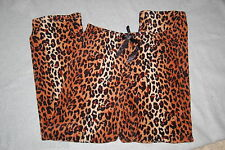 Womens Sleep Lounge Pants BROWN BLACK LEOPARD CHEETAH PRINT Plush Fleece M 8-10